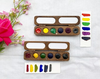 Perfect Primary Palettes. Handmade watercolor paint sets featuring 6 handmade colors in a wood palette