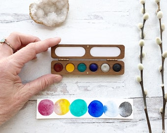 Bright Rainbow Wood Palette. Handmade watercolor paint set featuring 6 bright colors in a wood palette