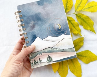 Over the Reservoir Watercolor Sketchbook filled with Shizen paper. Handmade, coil bound