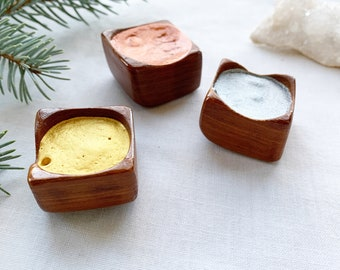 Metallic handmade watercolors in handmade wood pans. Gold, Silver and Shooting Star (Copper)