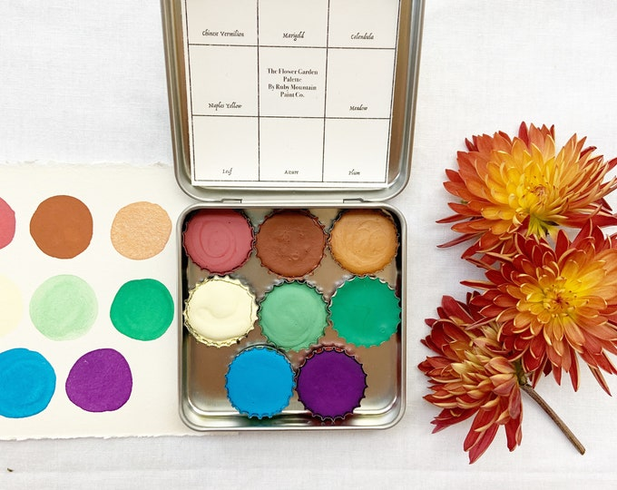 Featured listing image: The Flower Garden Palette, a palette of 8 colors of handmade watercolor paint in a new tin