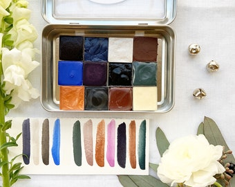 Snowy Nights Palette, a handmade watercolor set for cozy winter nights