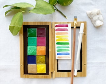 The Happy Days Palette, 10 colors of handmade watercolor paint in a new, reusable bamboo palette box