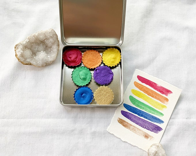Featured listing image: Golden Rainbow Gems Palette, a new super shimmery palette of handmade watercolor paint