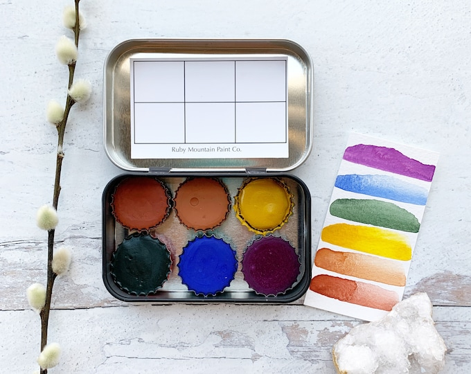 Featured listing image: The Spring Forest Palette, a balanced palette featuring 6 handmade watercolors in a new tin