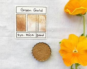 Green Gold. Half pan, full pan or bottle cap of handmade watercolor paint