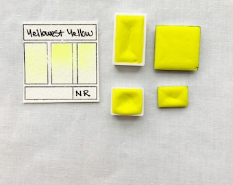 Yellowest Yellow. Half pan, full pan or bottle cap of handmade watercolor paint