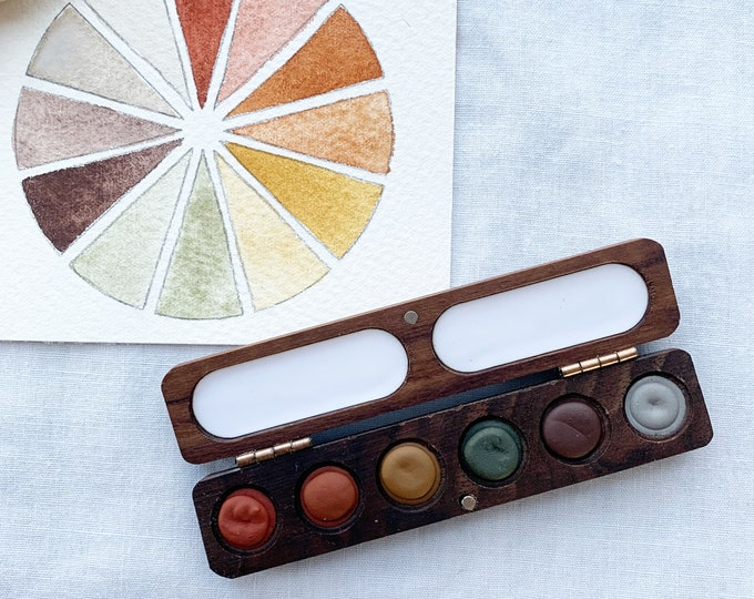 Featured listing image: Rainbow Earth Wood Palette. Handmade watercolor paint set featuring 6 mineral colors in a wood palette