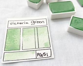 Victoria Green. Half pan, full pan or bottle cap of handmade watercolor paint