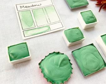 Meadow. Half pan, full pan or bottle cap of handmade Meadow green watercolor paint