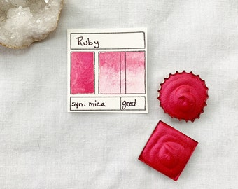 Ruby. Half pan, full pan or bottle cap of handmade watercolor paint