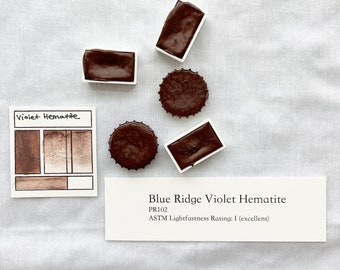 Blue Ridge Violet Hematite. Half pan, full pan or bottle cap of handmade watercolor paint