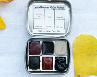 The Mountain Ridge Palette.  A handmade watercolor paint set featuring 6 mineral colors
