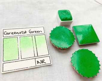 Greenest Green. Half pan, full pan or bottle cap of handmade watercolor paint