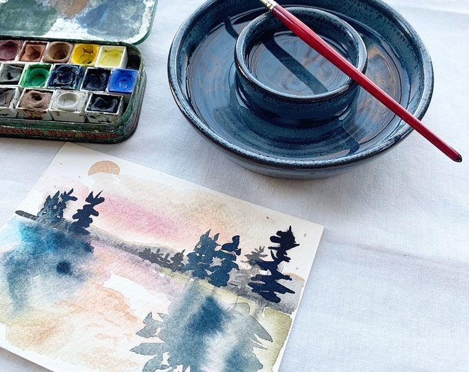 Featured listing image: Double Ceramic Water Cup for Watercolor Painting