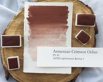 Armenian Crimson Ocher. Handmade watercolor paint in half pan, full pan or bottle cap