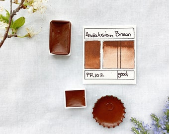 Andalusian Brown Ocher. Half pan, full pan or bottle cap of handmade watercolor paint
