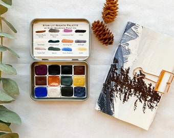 The Star Lit Night Set, a dark and moody winter watercolor set and sketchbook