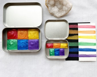 Rainbow Gems Palette, a new super shimmery palette of handmade watercolor paint