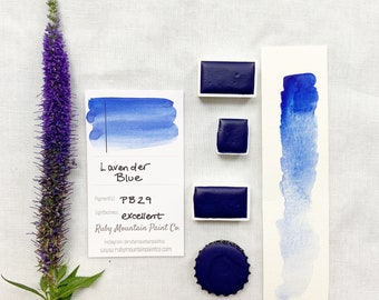 Lavender Blue. Half pan, full pan or bottle cap of handmade watercolor paint