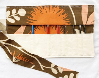 Brown, Orange and Pink Paint Brush Roll, handmade art supply case, drawing pencil case