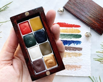 The Winter Cabin Palette, a palette of 8 handmade watercolors