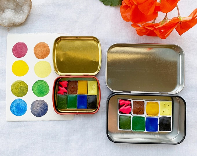 Featured listing image: Bumblebees and Blossoms Palette, a new springtime palette of handmade watercolor paint in a new tin