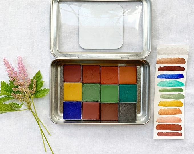 Featured listing image: The Summer Winds Set , a palette of 12 colors of handmade watercolor paint in a new tin
