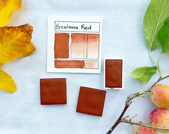 Ercolano Red. Half pan, full pan or bottle cap of handmade watercolor paint