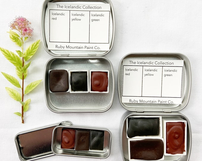 Featured listing image: The Icelandic Collection.  A handmade watercolor paint set featuring 3 mineral colors