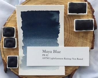 Maya Blue. Half pan, full pan or bottle cap of handmade watercolor paint