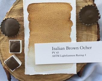 Italian Brown Ocher. Handmade watercolor paint in half pan, full pan or bottle caps