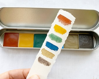 Spring Prairie Palette, a set of  6 colors of handmade watercolor paint in a new tin