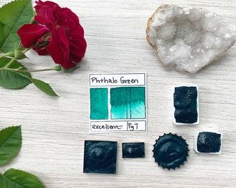 Phthalo Green. Half pan, full pan or bottle cap of handmade watercolor paint