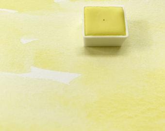 Nickel Yellow. Half pan, full pan or bottle cap of handmade watercolor paint