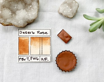 Desert Rose. Half pan, full pan or bottle cap of handmade watercolor paint
