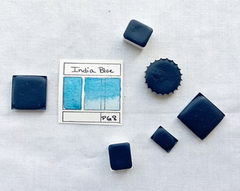 India Blue. Half pan, full pan or bottle cap of handmade watercolor paint