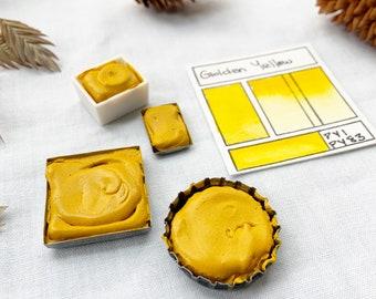 Golden Yellow. Half pan, full pan or bottle cap of handmade Golden Yellow watercolor paint