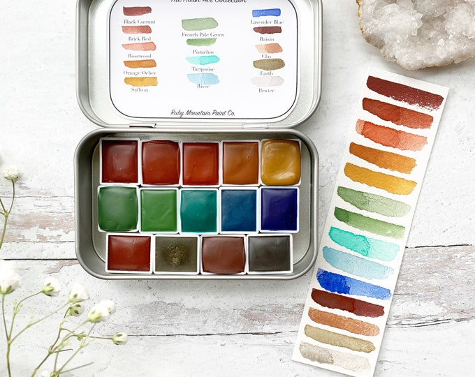 Featured listing image: The Fresh Air Collection, handmade watercolors in a half pan set, nestled in a tin