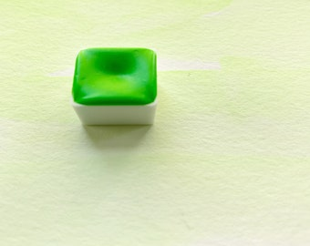 Neon Lime. Half pan, full pan or bottle cap of handmade watercolor paint
