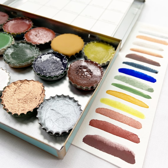 The Sailor Palette, a handmade watercolor set featuring 15 colors