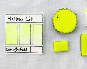 Yellow LIT. Handmade glow in the dark watercolors