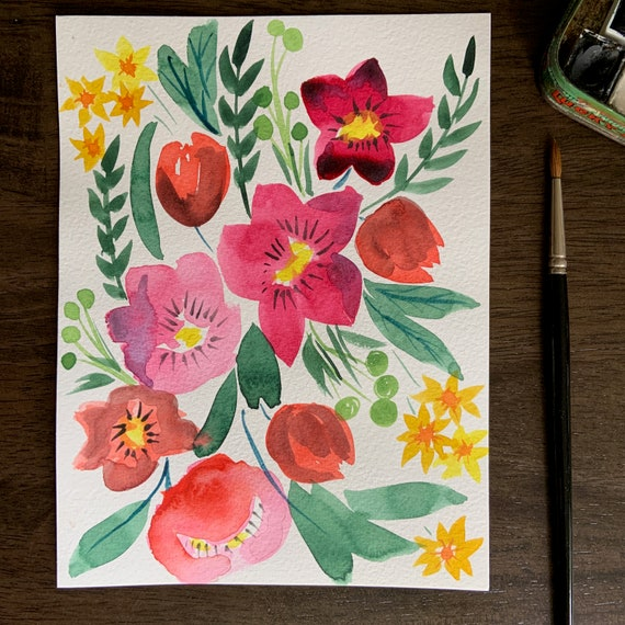 Midsummer Blooms- original watercolor painting