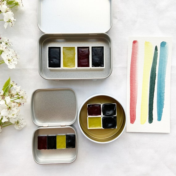 The Mayan Palette.  Handmade watercolor paint sets featuring 4 genuine Mayan colors