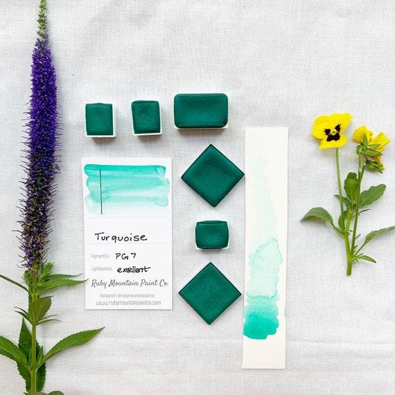 Turquoise. Half pan, full pan or bottle cap of handmade watercolor paint