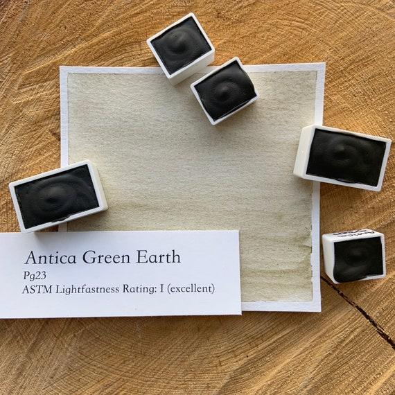 Antica Green Earth. Half pan, full pan or bottle cap of handmade watercolor paint