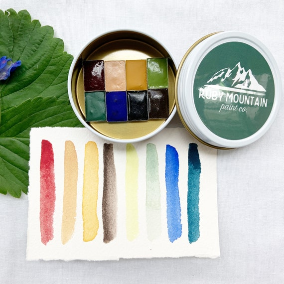 The Traveler's Palette, mini palettes of handmade watercolors in a new travel tins