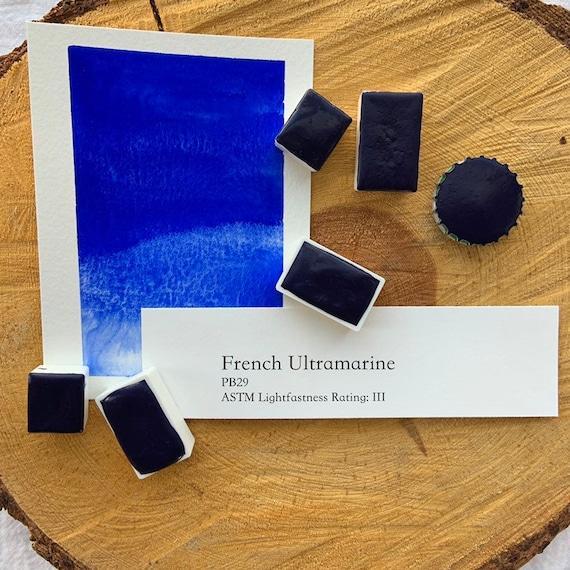 French Ultramarine. Half pan, full pan or bottle cap of handmade watercolor paint