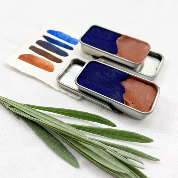The Duo Palette. Double full pans of handmade watercolor paint