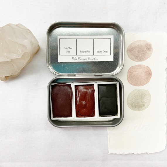 Earth Colors Trio Palette, a handmade watercolor palette in a new tin